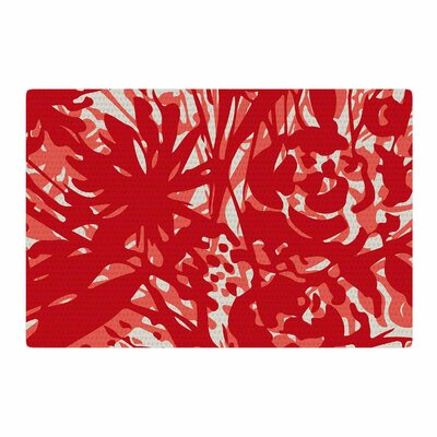Patternmuse Inky Floral Poppy Coral Painting Red Area Rug Rug Size: 2 x 3