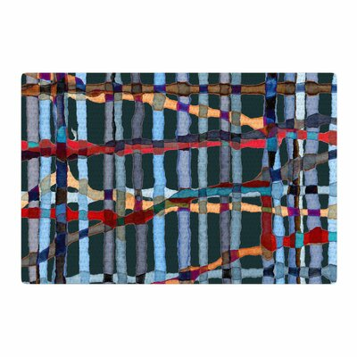 Patternmuse Midnight Bamboo Painting Blue Area Rug Rug Size: 2 x 3