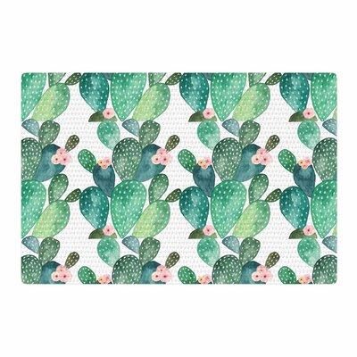 Li Zamperini Cactus Watercolor Green/Teal Area Rug Rug Size: 2 x 3