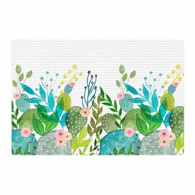 Li Zamperini Cute Foliage Watercolor White/Teal Area Rug Rug Size: 2 x 3