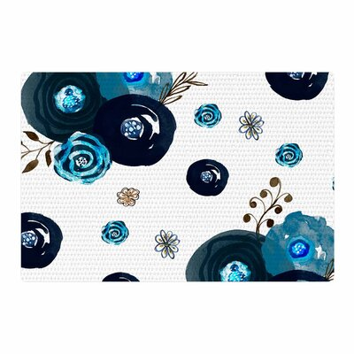Li Zamperini Just Floral Watercolor Blue Area Rug Rug Size: 2 x 3