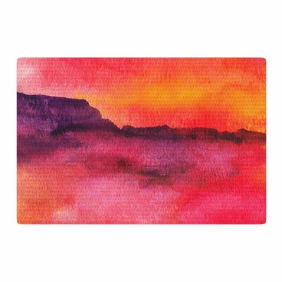 Li Zamperini Scape Watercolor Red/Yellow Area Rug Rug Size: 2 x 3