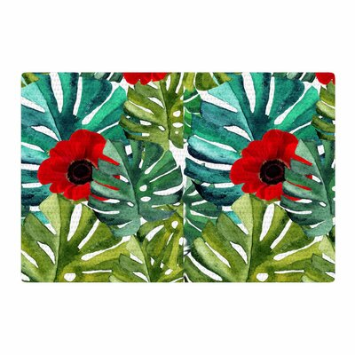 Li Zamperini Tropical Vibes Watercolor Green/Olive Area Rug Rug Size: 4 x 6