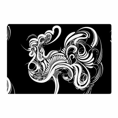 Maria Bazarova Cockerel Illustration Black/White Area Rug Rug Size: 4 x 6