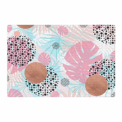 Mmartabc Abstract Monstera and Copper Digital Pink/Blue Area Rug Rug Size: 2 x 3