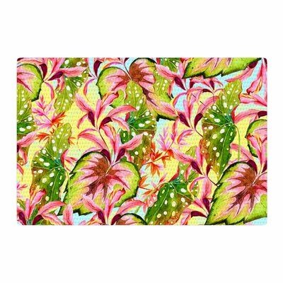 Mmartabc Exotic Botanical Pattern Illustration Yellow/Pink Area Rug Rug Size: 4 x 6