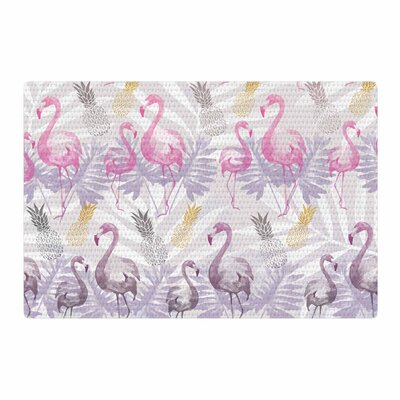 Mmartabc Flamingos and Pineapples Watercolor Purple/Pink Area Rug Rug Size: 2 x 3