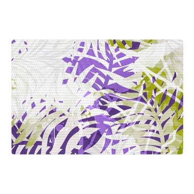 Mmartabc Leaves Vector Purple/Olive Area Rug Rug Size: 2 x 3