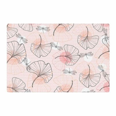 Mmartabc Pattern Flowers and Dragonflies Illustration Pink/Gray Area Rug Rug Size: 4 x 6