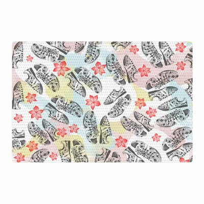 Mmartabc Sports Shoes Floral Illustration Gray Area Rug Rug Size: 2 x 3