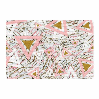 Mmartabc Strokes and Triangles Vector Gold/Pink Area Rug Rug Size: 4 x 6