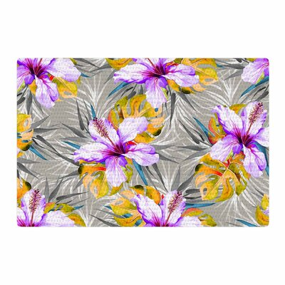 Mmartabc Tropical Flowery Illustration Gray/Purple Area Rug Rug Size: 4 x 6