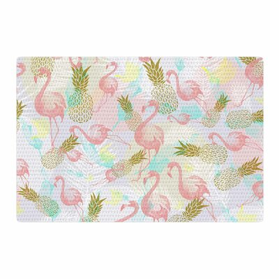 Mmartabc Tropical Fruit Animals Illustration Pink/Gold Area Rug Rug Size: 2 x 3