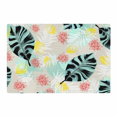 Mmartabc Tropical Plants Illustration Blue/Beige Area Rug Rug Size: 4 x 6