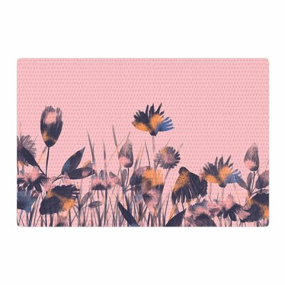 Hitidesign Crazy Flowers Illustration Pink/Blue Area Rug Rug Size: 2 x 3