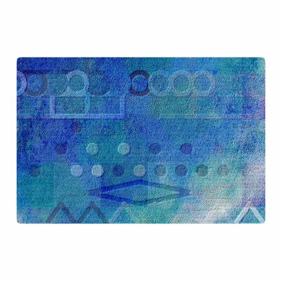 Mimulux Patricia No Hieroglyphic Digital Abstract Blue Area Rug Rug Size: 2 x 3