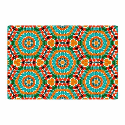 Miranda Mol Hexagon Tiles Pattern Orange/Teal Area Rug Rug Size: 2 x 3