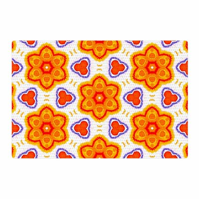 Miranda Mol Kaleidoscopic Flowers Floral Orange/Red Area Rug Rug Size: 4 x 6