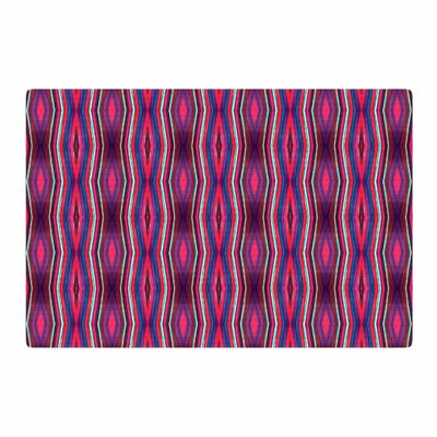 Miranda Mol Watercolor Zigzag Pattern Pink/Black Area Rug Rug Size: 2 x 3