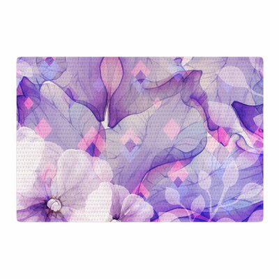 Mmartabc Rhombuses and Leaves Illustration Purple/White Area Rug Rug Size: 4 x 6
