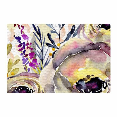 Mmartabc Watercolor Flowers and Leaves Illustration Beige/Pink Area Rug Rug Size: 2 x 3