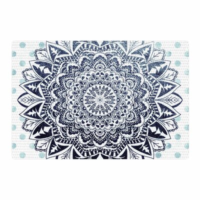 Nika Martinez Dots Mandala Illustration Blue/White Area Rug Rug Size: 2 x 3