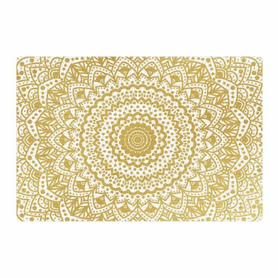 Nika Martinez Mandala Illustration Gold/White Area Rug Rug Size: 2 x 3