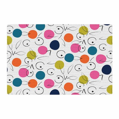 Neelam Kaur Colorful Polka Berries Digital Pink Area Rug Rug Size: 2 x 3