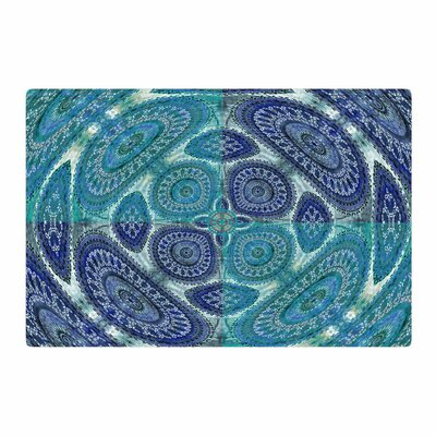 Nina May Mandala World Digital Blue/Teal Area Rug Rug Size: 2 x 3