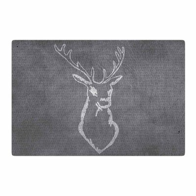 NL Designs Chalkboard Deer Digital Gray/White Area Rug Rug Size: 4 x 6