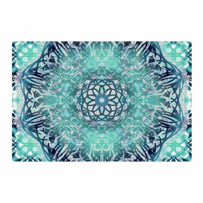 Nina May Aqua Ikat Batik Mandala Mixed Media Teal/Blue Area Rug Rug Size: 4 x 6