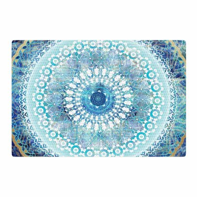 Nina May Ornate Boho Mandala Mixed Media Blue/Teal Area Rug Rug Size: 2 x 3