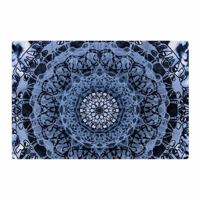 Nina May Tie-Dye Mandala Jain Watercolor Blue/White Area Rug Rug Size: 2 x 3