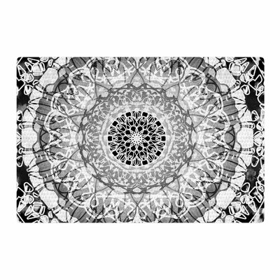 Nina May Tie-Dye Mandala Jain Illustration Black/White Area Rug Rug Size: 2 x 3