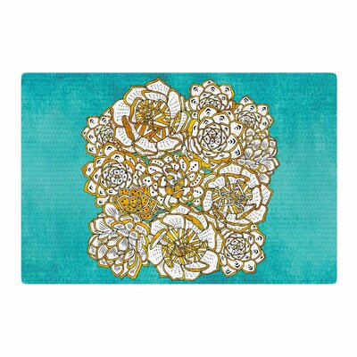 Pom Graphic Design Bohemian Succulents II Floral Teal/Gold Area Rug Rug Size: 2 x 3