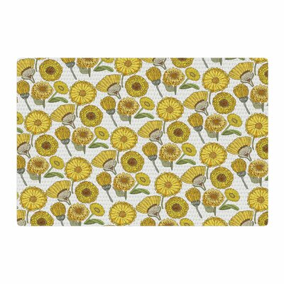 Pom Graphic Design Calendula Flowers Yellow Area Rug Rug Size: 4 x 6