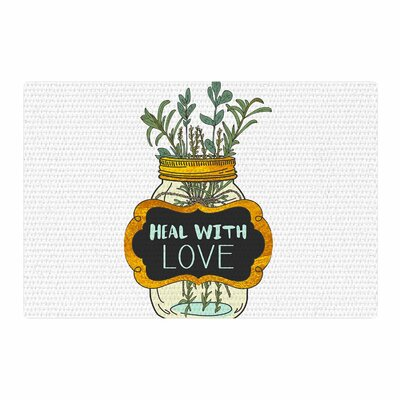 Pom Graphic Design Heal With Love Illustration Green/Gold Area Rug Rug Size: 4 x 6