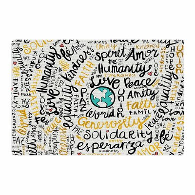 Pom Graphic Design Positive Messages Illustration Gold/Black Area Rug Rug Size: 2 x 3