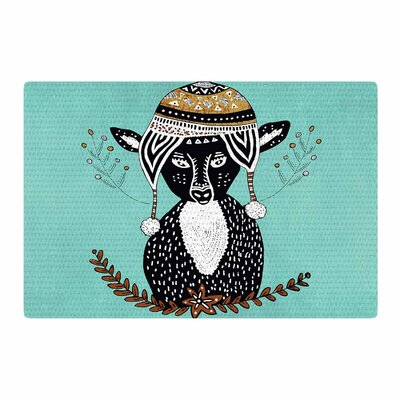 Pom Graphic Design Hipster Deer Teal Animals Illustration Black Area Rug Rug Size: 2 x 3