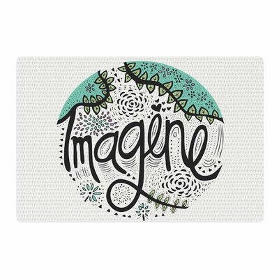 Pom Graphic Design Imagine Teal Nature Typography Black Area Rug Rug Size: 2 x 3