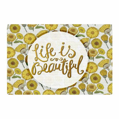 Pom Graphic Design Life Is Beautiful Typography Illustration Yellow/Gold Area Rug Rug Size: 2 x 3