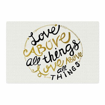 Pom Graphic Design Love Above All Things Vector Typography Black/Gold Area Rug Rug Size: 2 x 3