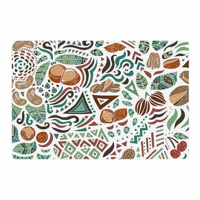 Pom Graphic Design Nuts For Love Nature Illustration Green/Brown Area Rug Rug Size: 2 x 3