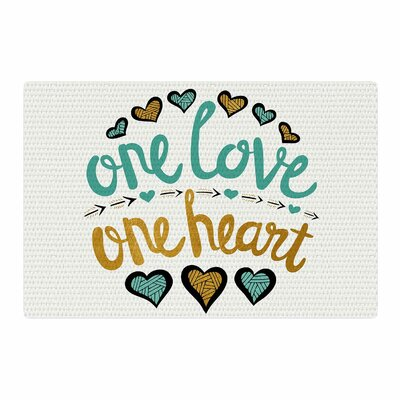 Pom Graphic Design One Love One Heart Teal Typography Illustration Gold Area Rug Rug Size: 2 x 3