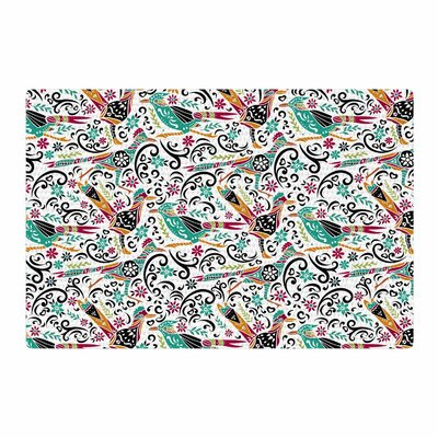 Pom Graphic Design Otomi Folk Birds Teal Illustration Black Area Rug Rug Size: 2 x 3