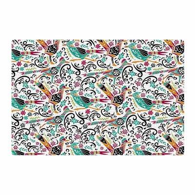 Pom Graphic Design Otomi Folk Birds Teal Illustration Black Area Rug Rug Size: 4 x 6