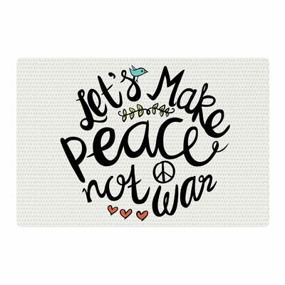 Pom Graphic Design Peace Not War Teal Typography Illustration Black Area Rug Rug Size: 2 x 3