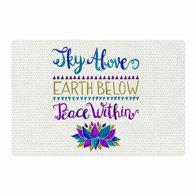 Pom Graphic Design Sky Above Peace Within Typography Purple/Blue Area Rug Rug Size: 2 x 3