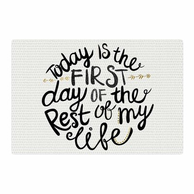Pom Graphic Design Today is the First Day Typography Illustration Black/Gold Area Rug Rug Size: 4 x 6