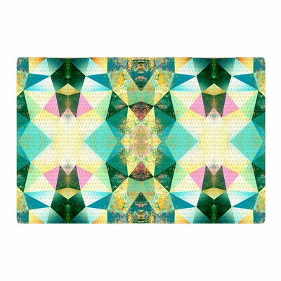 Pia Schneider Polygon Diamond II Teal Mixed Media Green Area Rug Rug Size: 4 x 6